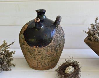 Antique 19th French Gargoulette -  black glazed color- Pitcher- Cruche Pottery Terra cotta