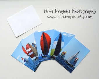 Sailboat Notecard Set,Stocking Stuffer Gifts for Sailors,Blank Cards with Envelopes,Photo Notecards,Note Card Set of 5,Nautical Hostess Gift