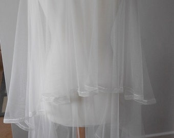 Pure 'Soft' Silk 2 Tier Veil with a choice of Length and Edging