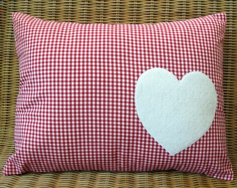 """Appliqued Heart Pillow with Red & White Gingham Print, 12"""" x 16"""""""