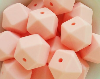 50-100 Hexagonal silicone Beads 17mm Color pink-BULK Silicone beads-50-100 hexagonal silicone beads 17mm-50-100 Silikon Perlen