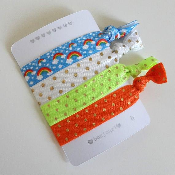 Set of 4 hair ties - elastics - no crease - stretch bracelets - rainbows - dots - neon yellow - orange - party favor - gift - summer - dK13