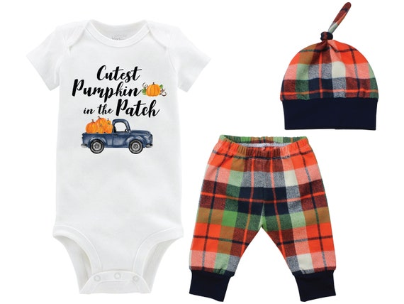 Fall Boy Cutest Pumpkin in the Patch Bodysuit Fall Baby Outfit Boy Pumpkin Outfit Fall Plaid Pants Leggings Baby Gift Top Knot Hat Boy