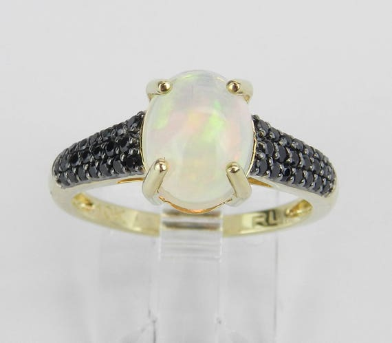 Yellow Gold Black Spinel and Opal Engagement Ring Unique Promise Size 6.75