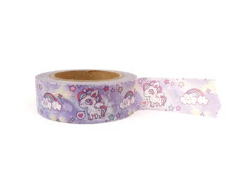 Washi tape - Unicorns & Rainbows, stationery, stationary, LittleLeftyLou, Snail Mail, Happy mail, masking tape, 10 meter, magical, unicorn