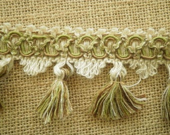 "Braid has fringes ""tassels"" man-made, off-white, embroidered with green and brown background, width 6.5 cm"