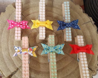 Set of 6 Assorted Bow Clothespins / Bow Clips / Decorative Clothespins