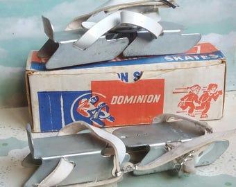 1960s Dominion Skate Co - Brampton Ontario Canada - Adjustable Children's Bob Ice Skaters Boxed