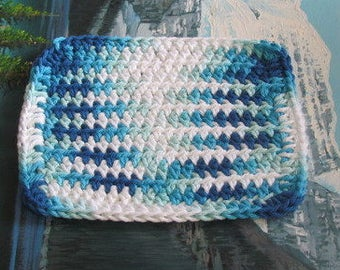 Hand crochet cotton dish cloth 6.5 by 6.5 cdc 115