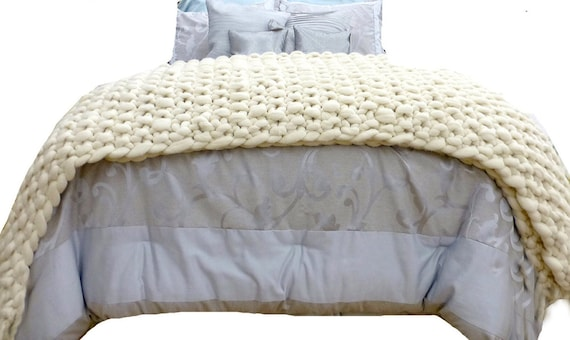 CHUNKY Bed Throw Blanket, Merino, SMOOSH Throw,