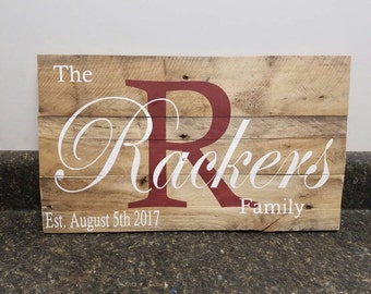 Last Name Wood Sign, Wedding Gift Sign, Last Name Sign, Personalized Wood Sign, Established Date Family Sign, Anniversary Gift