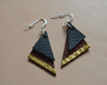 Sterling silver leather triangle earrings - gold detail