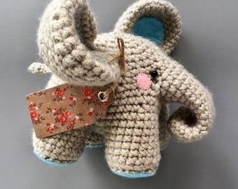 crochet elephant. amigurumi elephant. hand made crochet elephant. crochet elephant toy.