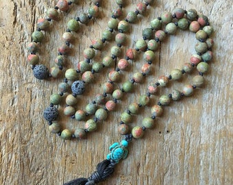 Unakite Mala, Prayer Necklace, Tibetan Prayer Necklace, Tassel Necklace, Energy Stone, Healing Stone, Lava Stone, Diffuser Necklace, Turtle