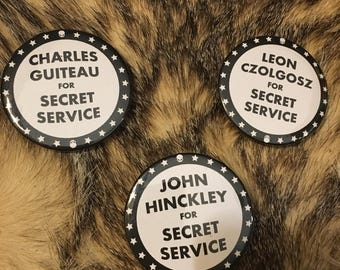 Historical Wackos For Secret Service Button or Sticker - Patriotic Anti-Trump Pin Decal