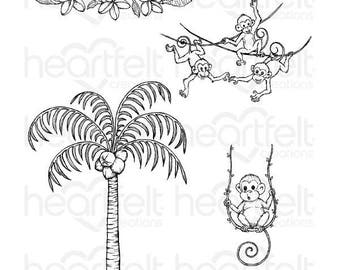 Heartfelt Creations Palm Tree & Monkeys Cling Stamp Set HCPC-3777