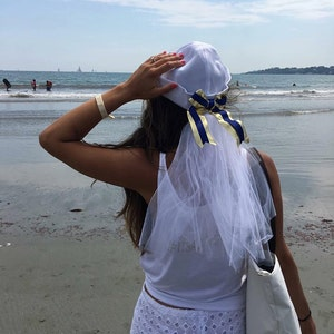 Bride Sailor Hat - Bachlorette Party - Veil - Custom