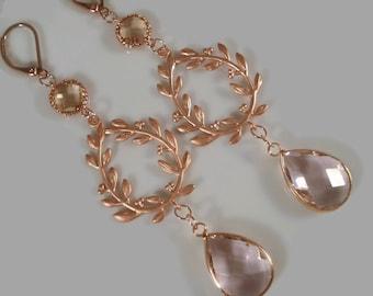 Rose Gold Earrings Pink Glass Earrings Laurel Wreath Earrings Drop Dangle Gift For Her
