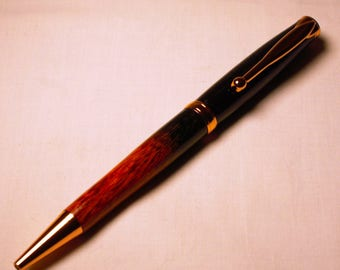 Black And Red Dyed Mesquite Wood & Copper Pen