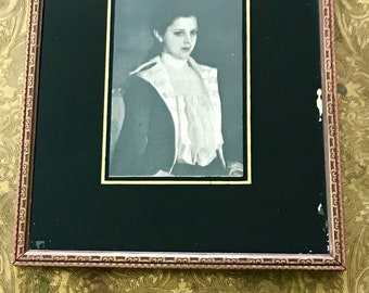 antique black and white portrait reverse painting wall decor