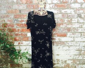FREE SHIPPING SALE Vintage/Retro Mandee's stretch dress - 1990s - 90s - women - black with flowers - large (L)