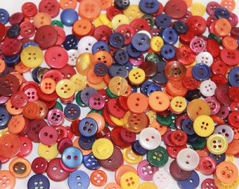 Tiny bright color buttons, mixed round buttons, 100 buttons, cute little buttons, button arts and crafts, primary color buttons