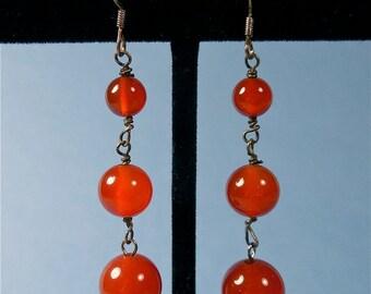 Vintage Carnelian and Sterling Dangle Drop Earrings (No. 1467)