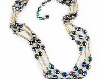 Three Strand Aurora Borealis Beaded Necklace   Made in West Germany