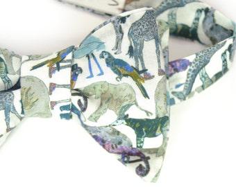 self-tie Wedding Mens Bow Tie blue animals bowtie