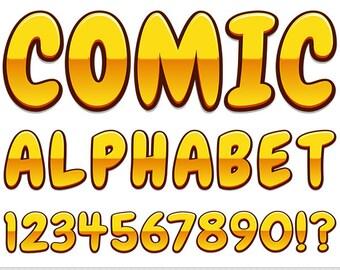 Comics Alphabet Clipart Gold Letters Clipart Comic Book Typography Golden Alphabet Clip Art Scrapbooking Numbers Yellow Digital Text Clipart