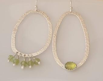 Asymmetrical Silver Hoops and Peridot Earrings