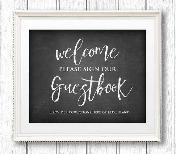 Sign Our Guest Book, Instant Download, Editable Text, Rustic Wedding Guestbook Sign, Chalkboard Printable Sign, PDF Template, Digital #CH05