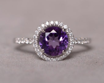 Natural Amethyst Ring Sterling Silver 925 Purple Crystal Gemstone Jewelry
