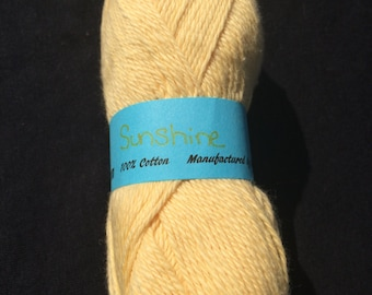 100% Cotton Sock Yarn in Sunshine