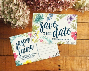 Save the Date, Save the Date Postcard, Printable Save the Date, Watercolor Save the Date, Floral Save the Date, Vintage Flowers, Botanicals
