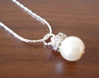 Fancy Popular Single Pearl Drop Necklace, for bridesmaids too