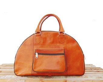 Brown Leather Travel Bag for Men & Women / Weekender Overnight Duffel Luggage Leather Handbag