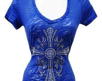 Royal Blue Graphic Embellished Tee - Cross
