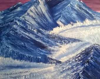 Original Painting Icy Mountains