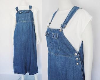 90s Overalls Maxi Dress, Vintage Denim Jumper, stonewash denim - ankle length dress - pinafore - 1990s 90s clothing - grunge - medium