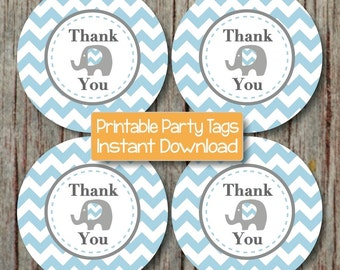 Printable Thank You Tags Birthday Party Baby Shower diy Favor Tags Elephant Powder Blue Chevron Baby Shower diy Tags INSTANT DOWNLOAD PDF 57