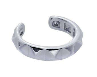 PYRAMID Ear Cuff, Cartilage, Band, Wrap,Geometric, Sterling Silver,Rhodium Plated