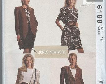 1990s Suit Pattern McCalls 6199 Jacket Top Skirt Shorts Womans Sewing Patterns Size 16 uncut