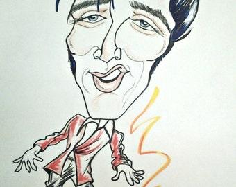 Elvis Presley Rock Portrait Rock and Roll Caricature Music Art by Leslie Mehl
