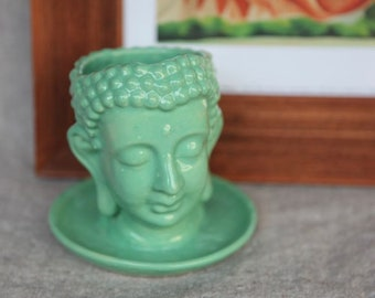 Buddha Planter in Stoneware with Turquoise Glaze