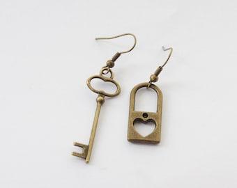 Key Earrings, Lock and Key Earrings, Skeleton Key Earrings, Christmas Gift, Mothers Day gift from son, Gift for Mom
