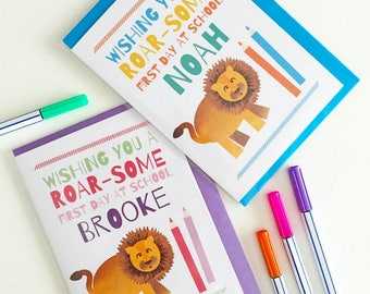 First Day Of School Good Luck Card - Custom / Personalised Lion Kids Name Card