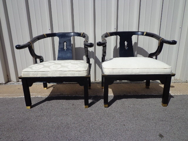 Pair Of Chairs Ming James Mont Style Century Chinese Chippendale Regency Armchair  Horseshoe Lacquer Chinoiserie Seating Desk Mid Century