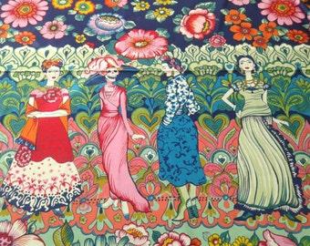 Frida Fabric, La Catrina Marine, ALL FIGURES, Foklorico, Alexander Henry, Day of the Dead, Dia de Los Muertos, Border Print, 24 INCHES/unit