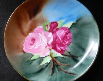 """Hutschenreuther 8.5"""" Hand Painted Red & Pink Roses Antique Plate Signed by Artist Morragh"""